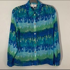 St John button down blouse blue green size small